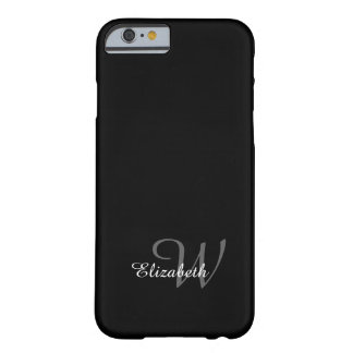 CHIC IPHONE6 CASE_WHITE NAME/GRAY INITIAL ON BLACK BARELY THERE iPhone 6 CASE