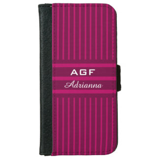 CHIC IPHONE6 WALLET CASE_ WINE ON WINE STRIPES