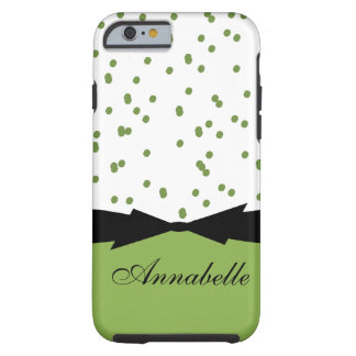 CHIC IPHONE 6 CASE_GIRLY GREENERY DOTS TOUGH iPhone 6 CASE