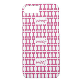 "CHIC iPhone 7 CASE_PINK ""WOOF"" AND BONES iPhone 7 Case"