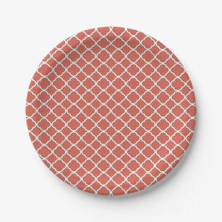 Chic Jelly Bean Orange Quatrefoil Maroccan Pattern Paper Plate