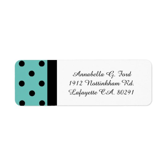 CHIC LABELS_BLACK DOTS ON TURQUOISE.  DIY COLOR RETURN ADDRESS LABEL