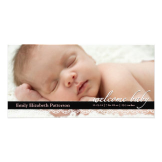 Chic Lace Baby Birth Announcement | Pink Photocard Card