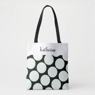 Chic Large Spots (Melon on Black), add name Tote Bag