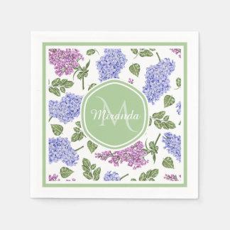 Chic Lavender Lilac Floral Pastel Green Monogram Disposable Napkins