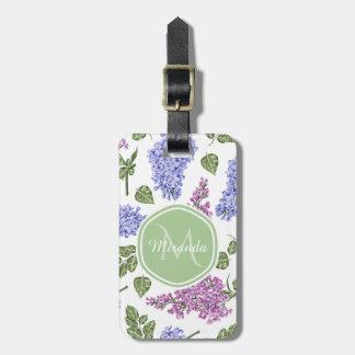 Chic Lavender Lilac Floral Pastel Green Monogram Luggage Tag