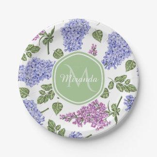 Chic Lavender Lilac Floral Pastel Green Monogram Paper Plate