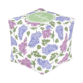Chic Lavender Lilac Floral Pastel Green Monogram Pouf