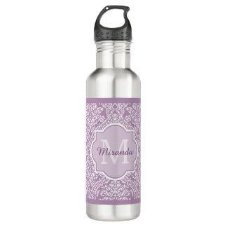 Chic Lavender Purple Damask Monogram With Name 710 Ml Water Bottle