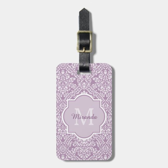 Chic Lavender Purple Damask Monogram With Name Bag Tag