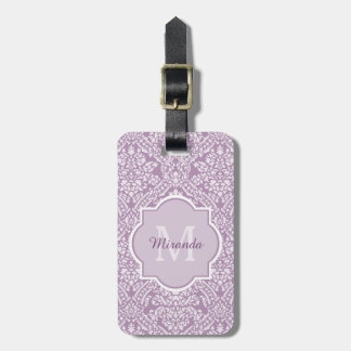 Chic Lavender Purple Damask Monogram With Name Luggage Tag