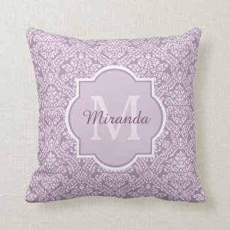 Chic Lavender Purple Damask Monogram With Name Throw Pillow
