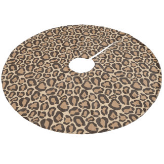 Chic Leopard Animal Print Fleece Tree Skirt