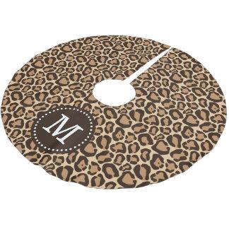 Chic Leopard Animal Print Monogram Brushed Polyester Tree Skirt