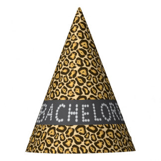 Chic Leopard Faux Diamond Bachelorette Party Hats