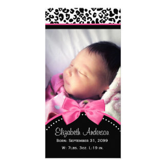 Chic Leopard Print Baby Photo Birth Announcement Photo Card Template