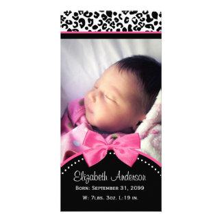 Chic Leopard Print Baby Photo Birth Announcement Custom Photo Card