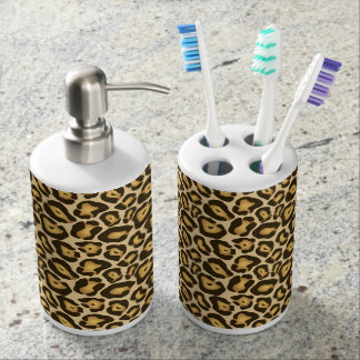 Chic Leopard Print Bathroom Set