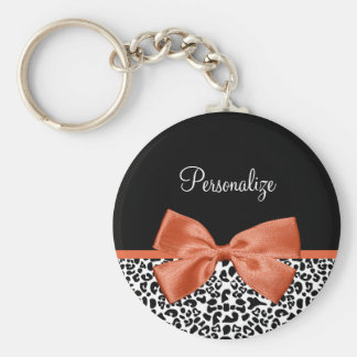 Chic Leopard Print Burnt Orange Bow With Name Keychain