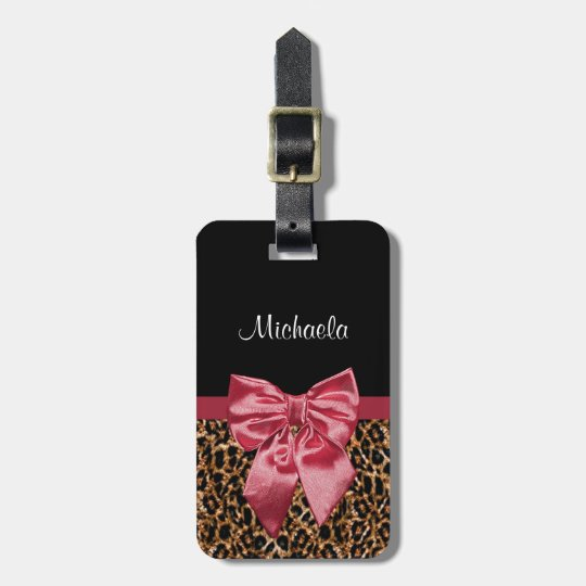 Chic Leopard Print Elegant Red Bow With Name Luggage Tag