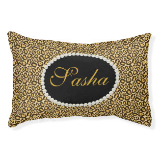 Chic Leopard Print Name Monogram Pet Bed