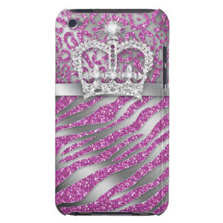 Chic Leopard Zebra iPod Barely There Pink Crown iPod Case-Mate Case