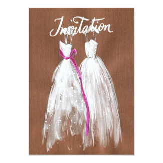 Chic Lesbian Gay Wedding Invitation Two Brides