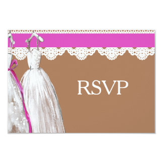 Chic Lesbian Gay Wedding RSVP Two Brides Card