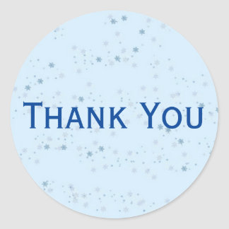 Chic Light Blue Speckled Thank You Sticker