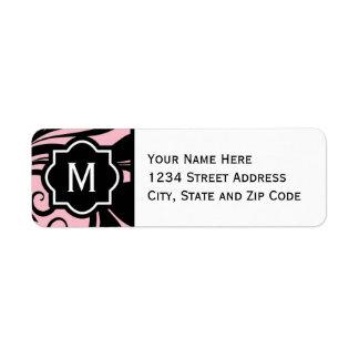 Chic Light Pink Black and White Flourish Monogram