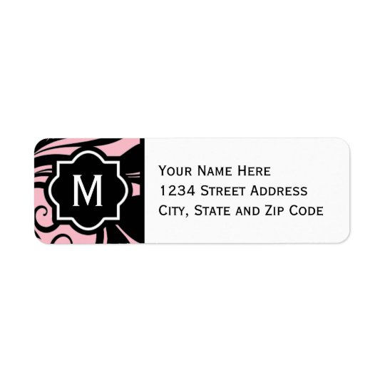 Chic Light Pink Black and White Flourish Monogram