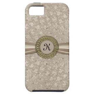 Chic Light Tan Ostrich Leather Look Monogram Case For The iPhone 5