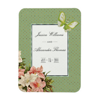 Chic Lilies & Gem Butterfly Wedding Magnet
