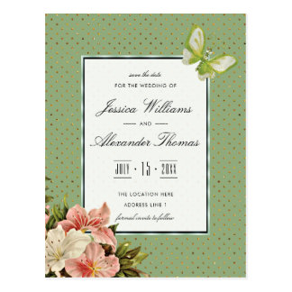 Chic Lilies & Gem Butterfly Wedding Save The Date Postcard