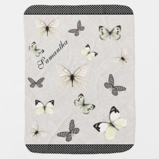 Chic Linen and Butterflies Baby Blanket