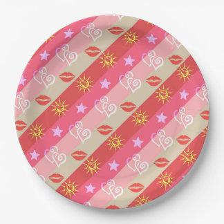 Chic Lip, Heart, Sun, Star Pink Stripe Plates