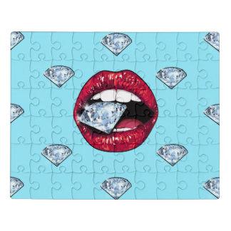 Chic Lips Diamond Girly Jigsaw Puzzle