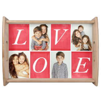 Chic Love 4 Photo Collage Serving Tray