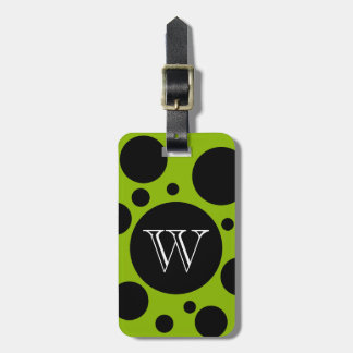 CHIC LUGGAGE /BAG TAG_BLACK BUBBLES ON 64 GREEN LUGGAGE TAG