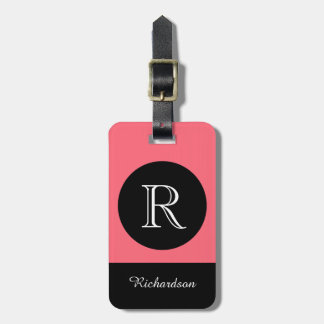 CHIC LUGGAGE TAG_BLACK/CORAL/WHITE INITIAL/NAME LUGGAGE TAG