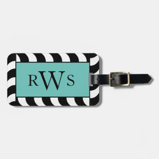 CHIC LUGGAGE TAG_BLACK/WHITE CORDING ON LIGHT TEAL LUGGAGE TAG