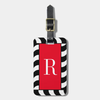 CHIC LUGGAGE TAG_BLACK/WHITE CORDING ON RED LUGGAGE TAG