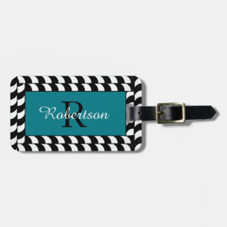 CHIC LUGGAGE TAG_BLACK/WHITE CORDING ON TURQUOISE BAG TAG