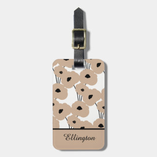 CHIC LUGGAGE TAG_MOD HAZELNUT & BLACK POPPIES LUGGAGE TAG