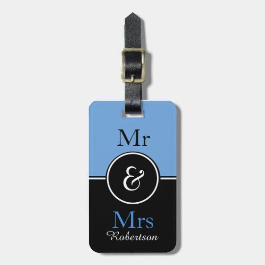 "CHIC LUGGAGE TAG_MODERN ""Mr & Mrs"" 153 BLUE/BLACK Luggage Tag"