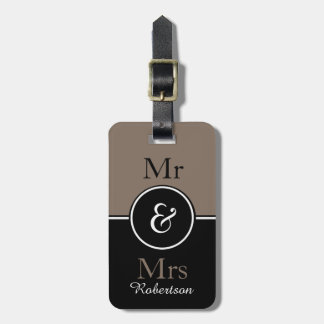 "CHIC LUGGAGE TAG_MODERN ""Mr & Mrs"" BROWN/BLACK Luggage Tag"