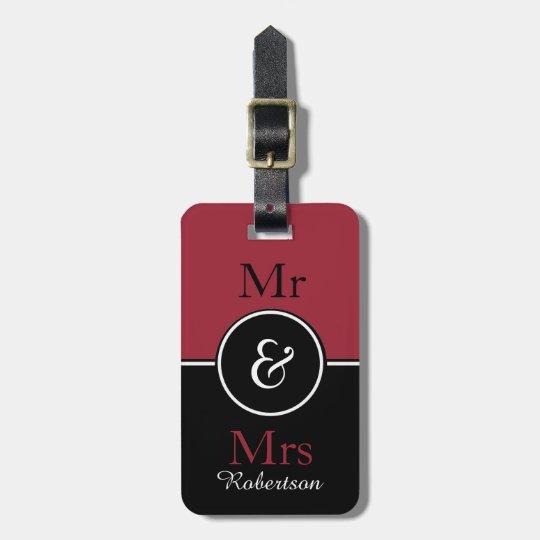 "CHIC LUGGAGE TAG_MODERN ""Mr & Mrs"" MARSALA/BLACK Luggage Tag"