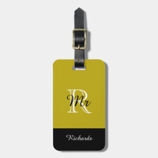"CHIC LUGGAGE TAG_""Mr"" 191 GOLD/BLACK/WHITE Luggage Tag"