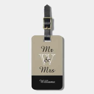 "CHIC LUGGAGE TAG_""Mr & Mrs"" 517 LINEN/BLACK/WHITE Luggage Tag"