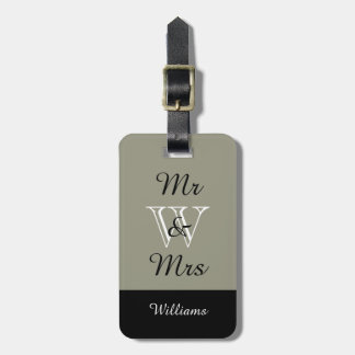 "CHIC LUGGAGE TAG_""Mr & Mrs"" 607 TAUPE/BLACK/WHITE Luggage Tag"